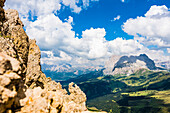 Panoramic view from the Rosszahnscharte to the area around Mount Plattkofel, Siusi, South Tyrol, Alto Adige, Italy