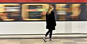 Girl at subway station, Hamburg, Germany