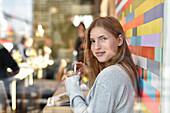 Girl in Cafe, Entenwerder, Hamburg, Germany