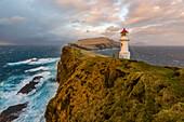 lonesome lighthouse on Mykines island, Faroe Islands, Denmark