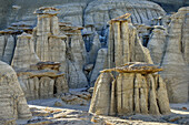 Rock towers with white sandstone, Bisti Badlands, De-Nah-Zin Wilderness Area, New Mexico, USA