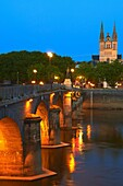 Angers, Cathedral, Dusk, Maine et Loire, Anjou Province, River Maine, Pays de la Loire, Loire Valley, UNESCO World Heritage Site, France.