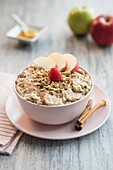 Apple and cinnamon oatmeal breakfast.