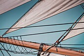 Close-up and detailed view of rigging and sails on the 'Star of India' at the San Diego Maritime Museum
