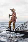 Fisherman, Inle Lake, Myanmar, Asia.