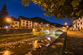 The picturesque village of Ochagavía, right in the middle of Navarre's Eastern Pyrenees Spain Nightscape.