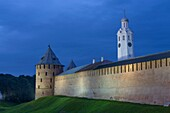 Evening, Kremlin Wall with Towers, UNESCO World Heritage Site, Veliky Novgorod, Novgorod Oblast, Russian Federation