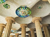 Parc Güell Garden complex with architectural elements Designed by the Catalan architect Antoni Gaudí, Spain, Europe.