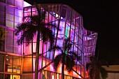 MULTI COLOR RAINBOW LIGHTS EQUINOX BUILDING FIFTH STREET MIAMI BEACH FLORIDA USA.