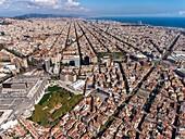 Train station of Sants and Eixample. Barcelona.