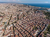 Quarter of El Poble Sec and coast line in Barcelona.