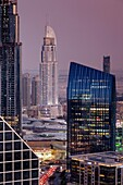 UAE, Dubai, Downtown Dubai, The Address Downtown Hotel, elevated view, dusk.