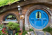 New Zealand, North Island, Matamata, Hobbiton Movie Set, Hobbit house.