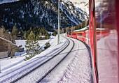 Samedan, Switzerland. On board of the Bernina Express.