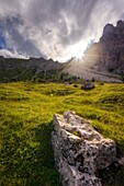 Lastoi de Formin, Dolomites, Cortina d'Ampezzo, Veneto, Belluno, Italy. Typical alpine location near Federa Lake.