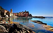 View of Venazza village , with its marina, Liguria, Italy.