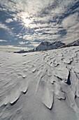 Casera Razzo, Carnia, Dolomites, Veneto, Belluno, Italy. Snow waves at Casera Razzo.