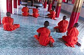 Tra Vinh, Mekong Delta, Southern Vietnam. Khmer Krom monks praying in the temple.