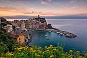 Sunrise in Vernazza, 5 terre natural park, province of La Spezia, Liguria, Italy.