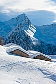Orobie alps, chalet at Tartano valley, Lombardy, Italy.