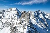 Aerial view of Ago di Sciora, a granite spur between Italy and Switzerland. Engadine, Canton Grigioni, Switzerland.