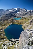 View of lake Agnel and lake Serru. Hill of Nivolet. Alpi Graie. Ceresole Reale. Piedmont.