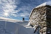 Snowshoe hiker walking near snow covered hut Motta di Olano Gerola Valley Valtellina Orobie Alps Lombardy Italy Europe.