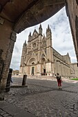 View of the gothic cathedral with golden mosaics and bronze doors Orvieto Terni Province Umbria Italy Europe.