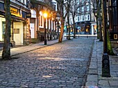 Crown Place Cobbled Street at Dusk Harrogate North Yorkshire England.