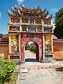 Entrance gate to the Hung To Mieu Temple. Imperial City (The Citadel), Hue, Vietnam.