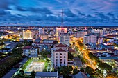 Elevated city view at dusk. Hue, Vietnam.