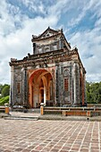 Stone Stele Pavilion at the Tomb of Tu Duc. Hue, Vietnam.