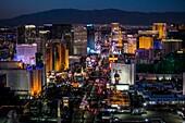Aerial view of the Strip at night, Las Vegas, Nevada, USA.