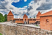 Trakai Island Castle was built in the 14th century and is situated close to Vilnius, Lithuania, Baltic States, Europe.