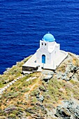 Whitewashed blue domed Church of the Seven Martyrs, Sifnos Island, Cyclades, Greece.