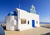 Rooftop chapel in Imerovigli, Santorini, Cyclades, Greece.