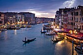 Colorful evening over the Grand Canal and city of Venice, Veneto, Italy.