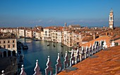 Rooftop view of the Grand Canal from the Fondaco dei Tedeschi (b. 1228) - now a department store ajacent to Rialto Bridge, Venice, Veneto, Italy.