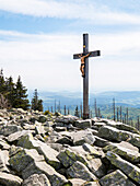 Summit cross and granite blocks on Lusen mountain, Bavarian Forest National Park, Bavaria, Germany, Europe