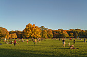 Autumnal Scene in Englischer Garten, People lying on the green or playing Badminton, Football, Volleyball, Munich, Upper Bavaria, Germany