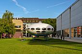 Futuro-Haus from Matti Suuronen inbetween Pinakothek der Moderne and Museum Brandhorst, Munich, Upper Bavaria, Germany