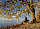 A man sitting on a bench under a tree and enjoying the late-autumnal sun at lake Starnberg, Ambach, Upper Bavaria, Germany