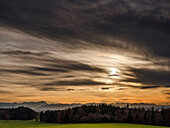 View from Degerndorfer Hoehe to the alps before sunset, Zugspitze on the left, Muensing, Upper Bavaria, Germany