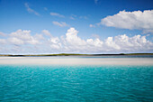 EXUMA, Bahamas. A view of the water and an island during a boat excusion.