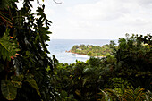 JAMAICA, Port Antonio. A view of the coastline from the Geejam Hotel.