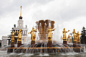 RUSSIA, Moscow. The Peoples Friendship Fountain at the All-Russia Exhibition Center.