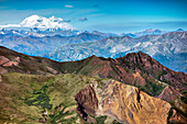 USA, Alaska, Denali, Denali National Park, some of the breathtaking backdrops seen by the hikers of the Helihiking tour through Cool Mountain