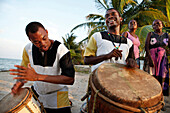 BELIZE, Hopkins, Lebeha Drummers Ronald Willams and Warren Martinez at the drumming center in Hopkins, winners of the Battle of the Drums