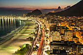 BRAZIL, Rio de Janiero, a view of Copacabana Beach at night