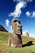 EASTER ISLAND, CHILE, Isla de Pascua, Rapa Nui, Rano Raraku is a volcanic crater on the lower slopes of Terevaka, it supplied nearly 95% of the island's known Moai sculptures and is still home to 397 Moai statues